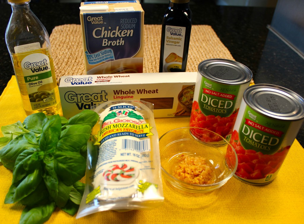 All ingredients for One Pot Skinny Chicken Caprese Pasta (except chicken)
