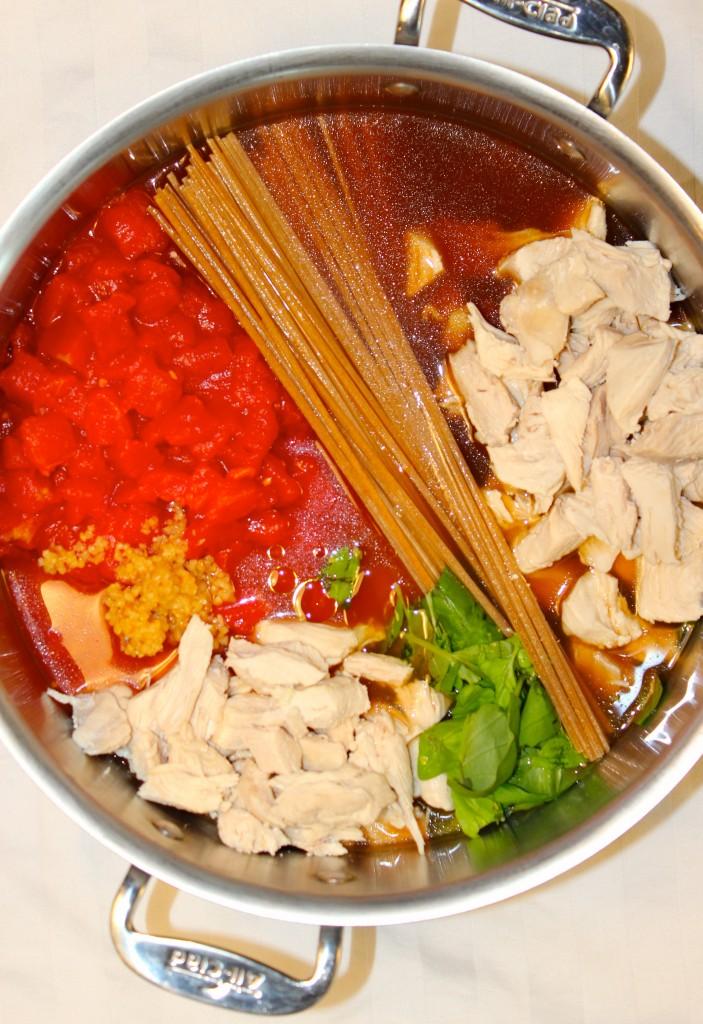 One Pot Skinny Chicken Caprese Pasta Salad