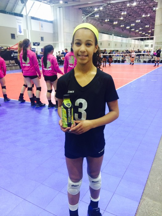My 10 year-old daughter at a volleyball national qualifier hydrating with her BODYARMOR!