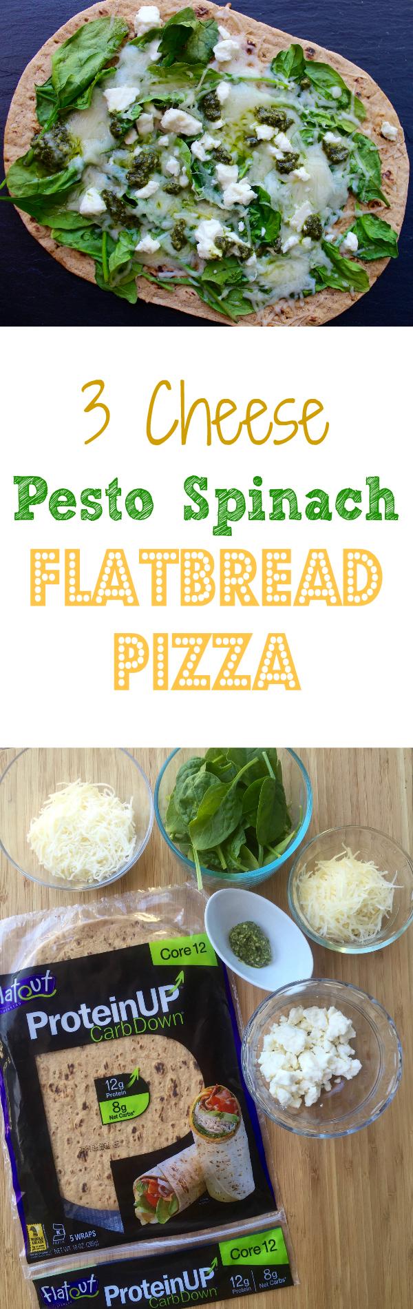 3 Cheese Pesto Spinach Flatbread Pizza